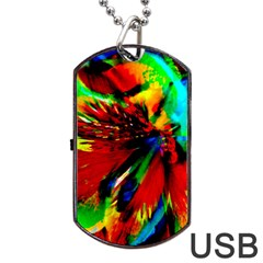 Flowers With Color Kick 1 Dog Tag Usb Flash (one Side)