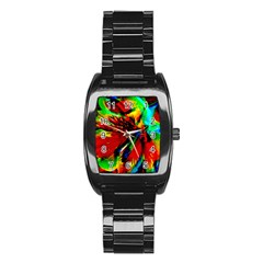 Flowers With Color Kick 1 Stainless Steel Barrel Watch
