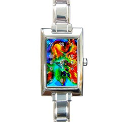 Flowers With Color Kick 2 Rectangle Italian Charm Watch