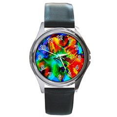 Flowers With Color Kick 2 Round Metal Watch