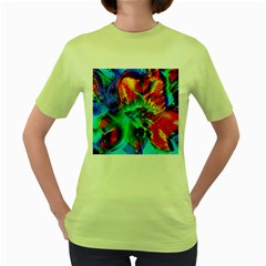 Flowers With Color Kick 2 Women s Green T Shirt