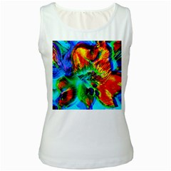 Flowers With Color Kick 2 Women s White Tank Top