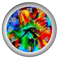 Flowers With Color Kick 2 Wall Clocks (silver)