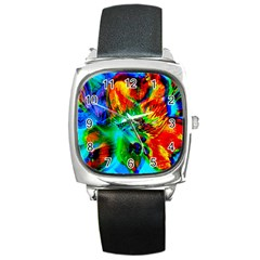 Flowers With Color Kick 2 Square Metal Watch