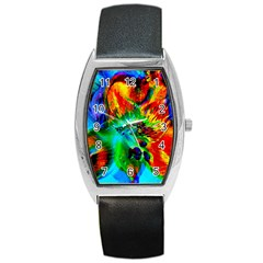 Flowers With Color Kick 2 Barrel Style Metal Watch