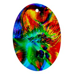 Flowers With Color Kick 2 Oval Ornament (two Sides)