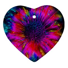 Flowers With Color Kick 3 Ornament (heart)