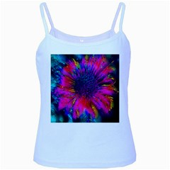 Flowers With Color Kick 3 Baby Blue Spaghetti Tank