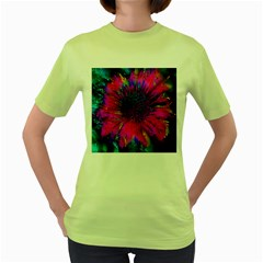 Flowers With Color Kick 3 Women s Green T Shirt