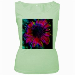 Flowers With Color Kick 3 Women s Green Tank Top