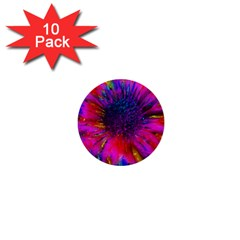 Flowers With Color Kick 3 1  Mini Buttons (10 Pack)
