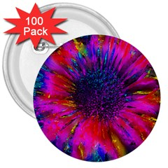 Flowers With Color Kick 3 3  Buttons (100 Pack)