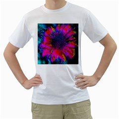Flowers With Color Kick 3 Men s T Shirt (white) (two Sided)