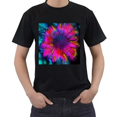 Flowers With Color Kick 3 Men s T Shirt (black) (two Sided)