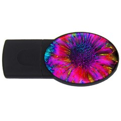 Flowers With Color Kick 3 Usb Flash Drive Oval (4 Gb)