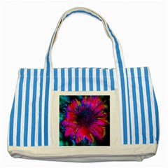 Flowers With Color Kick 3 Striped Blue Tote Bag