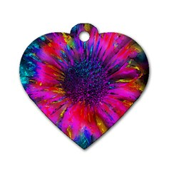 Flowers With Color Kick 3 Dog Tag Heart (two Sides)