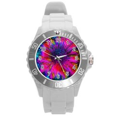 Flowers With Color Kick 3 Round Plastic Sport Watch (l)