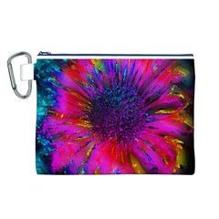 Flowers With Color Kick 3 Canvas Cosmetic Bag (l)
