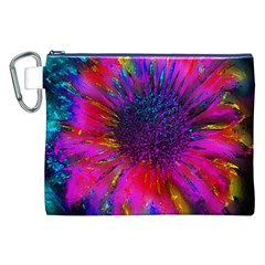 Flowers With Color Kick 3 Canvas Cosmetic Bag (xxl)