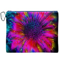 Flowers With Color Kick 3 Canvas Cosmetic Bag (xxxl)