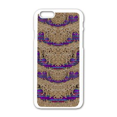Pearl Lace And Smiles In Peacock Style Apple Iphone 6/6s White Enamel Case