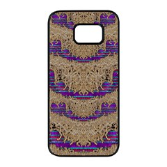 Pearl Lace And Smiles In Peacock Style Samsung Galaxy S7 Edge Black Seamless Case