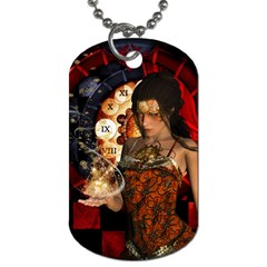 Steampunk, Beautiful Steampunk Lady With Clocks And Gears Dog Tag (one Side)