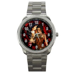 Steampunk, Beautiful Steampunk Lady With Clocks And Gears Sport Metal Watch