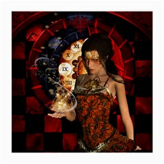Steampunk, Beautiful Steampunk Lady With Clocks And Gears Medium Glasses Cloth (2 Side)