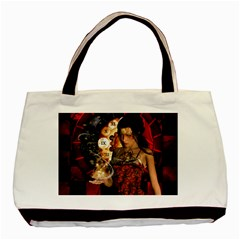 Steampunk, Beautiful Steampunk Lady With Clocks And Gears Basic Tote Bag (two Sides)
