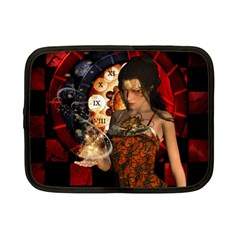 Steampunk, Beautiful Steampunk Lady With Clocks And Gears Netbook Case (small)