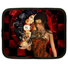 Steampunk, Beautiful Steampunk Lady With Clocks And Gears Netbook Case (large)