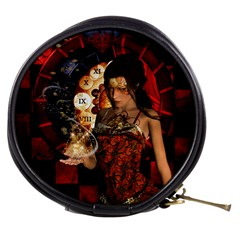 Steampunk, Beautiful Steampunk Lady With Clocks And Gears Mini Makeup Bags