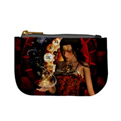 Steampunk, Beautiful Steampunk Lady With Clocks And Gears Mini Coin Purses