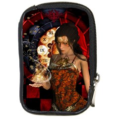 Steampunk, Beautiful Steampunk Lady With Clocks And Gears Compact Camera Cases