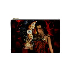 Steampunk, Beautiful Steampunk Lady With Clocks And Gears Cosmetic Bag (medium)