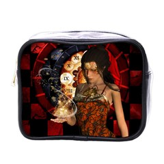 Steampunk, Beautiful Steampunk Lady With Clocks And Gears Mini Toiletries Bags