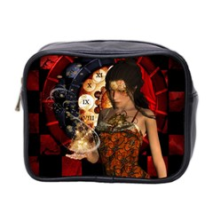 Steampunk, Beautiful Steampunk Lady With Clocks And Gears Mini Toiletries Bag 2 Side