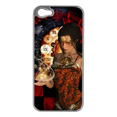 Steampunk, Beautiful Steampunk Lady With Clocks And Gears Apple Iphone 5 Case (silver)