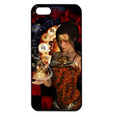 Steampunk, Beautiful Steampunk Lady With Clocks And Gears Apple Iphone 5 Seamless Case (black)