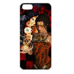 Steampunk, Beautiful Steampunk Lady With Clocks And Gears Apple Iphone 5 Seamless Case (white)