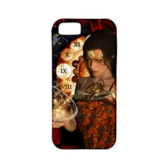 Steampunk, Beautiful Steampunk Lady With Clocks And Gears Apple Iphone 5 Classic Hardshell Case (pc+silicone)