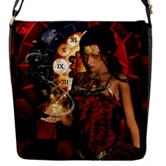 Steampunk, Beautiful Steampunk Lady With Clocks And Gears Flap Messenger Bag (s)