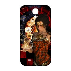 Steampunk, Beautiful Steampunk Lady With Clocks And Gears Samsung Galaxy S4 I9500/i9505  Hardshell Back Case