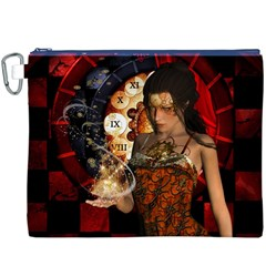 Steampunk, Beautiful Steampunk Lady With Clocks And Gears Canvas Cosmetic Bag (xxxl)