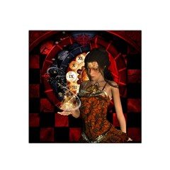 Steampunk, Beautiful Steampunk Lady With Clocks And Gears Satin Bandana Scarf