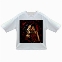 Steampunk, Beautiful Steampunk Lady With Clocks And Gears Infant/toddler T Shirts