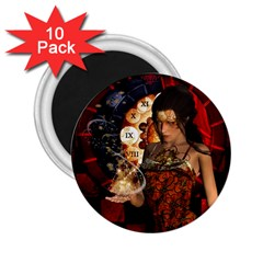 Steampunk, Beautiful Steampunk Lady With Clocks And Gears 2 25  Magnets (10 Pack)