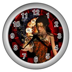 Steampunk, Beautiful Steampunk Lady With Clocks And Gears Wall Clocks (silver)